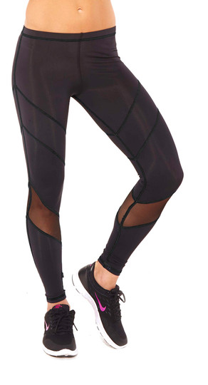 Black Mesh Multi-Stitch Performance Legging