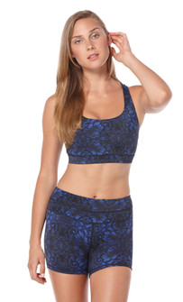 Peony Deep Ultramarine Brocade Print Sports Bra