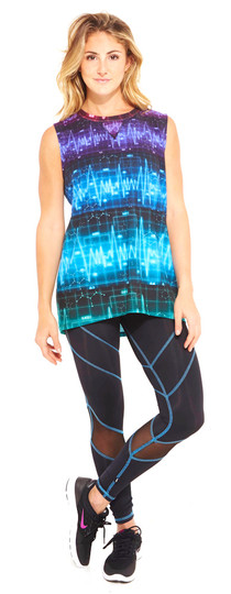 Terez Cardio Levels Print Muscle Tee Top