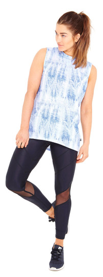 Acid Denim Wash Print Muscle Tee Top