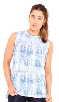 Terez Acid Denim Wash Print Muscle Tee Top