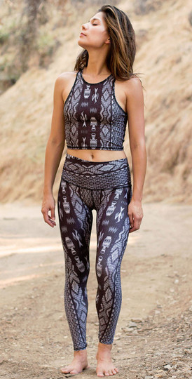 Diamond Tribe Charcoal Print Hot Pant Legging