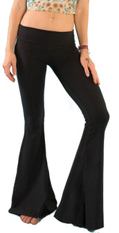 Teeki Solid Black Bell Bottom Pants