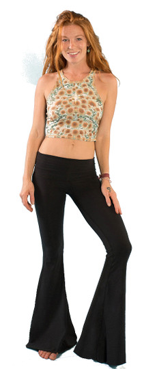Solid Black Bell Bottom Pants