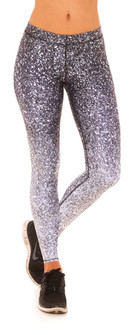 Terez Black and White Glitter Print Performance Legging