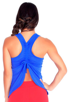 Protokolo Electric Blue Spencer Mesh Tank