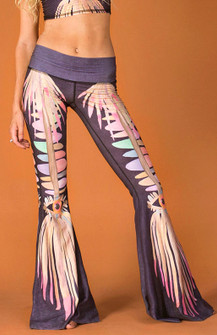 Teeki Jungle Eyes Print Bell Bottom Pants