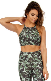 Strut-This Watercolor Camo Bra Top