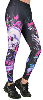 Shape UP King Rose Skull Printed Legging