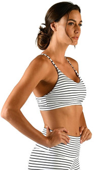 Glyder White Black Stripe Energy Bra