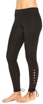 Terez Black Side Lace Up Leggings