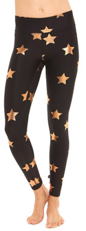 Terez Rose Gold Star Foil Tall Band Leggings