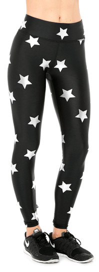 Terez Silver Star Foil Tall Band Leggings