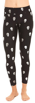 Terez Silver Starry Eyed Skull Foil Tall Band Leggings