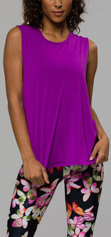 Long Purple Twist Back Top