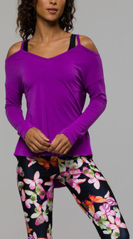 Fashion Purple Open Shoulder Top By Onzie Yoga Wear