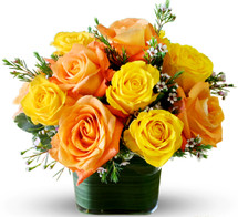 Orange & Yellow Roses Cubed
