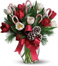 Candy Canes & Tulips Vase