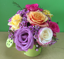 Assorted Roses in Ceramic Watering Can