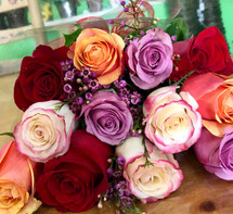 12 Assorted Roses Wrapped in Love