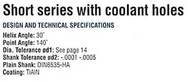 YG1 USA EDP # 0111BTF CARBIDE DREAM DRILL W/ COOLANT HOLES (3XD) 11/64 x 15/64