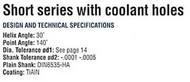 YG1 USA EDP # 0121BTF CARBIDE DREAM DRILL W/ COOLANT HOLES (3XD) 3/16 x 15/64
