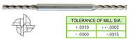 YG1 USA EDP # 54008HC 4 FLUTE LONG LENGTH DE MINIATURE TICN COATED HSS 5/64 x 3/16 x 1/4 x 3/8 x 2-1/2