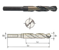 YG1 USA EDP # D1191035 HSS(M2) 118 DEGREE SPLIT POINT 3 FLAT GOLD & BLACK S & D DRILL 35/64 x 1/2 x 3 x 6