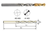YG1 USA EDP # D1GP134201 HSS(M2) JOBBERS LENGTH STRAIGHT SHANK GOLD-P DRILLS (10 PC SET) #56 x 3/4 x 1-3/4