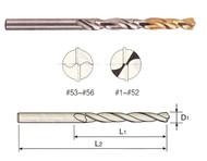 YG1 USA EDP # D2GP187222 HSS(M42) JOBBERS LENGTH STRAIGHT SHANK GOLD-P DRILLS (10 PC SET) #35 x 1-1/2 x 2-5/8
