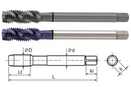 YG1 USA EDP # T1243C HSS-EX COMBO MODI SPIRAL FLUTE TAP DIN LENGTH ANSI SHANK TICN COATED #6-32 UNC GH3 50.8 OAL
