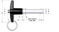 FAIRLANE QUICK RELEASE BALL LOCK PIN - T-HANDLE -STEEL SHANK - ALUMINUM HANDLE - INCH (TAAS-18-075)