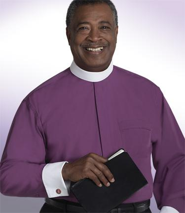 Men's Long-Sleeve Banded Collar Clergy Shirt (Shown In Purple)