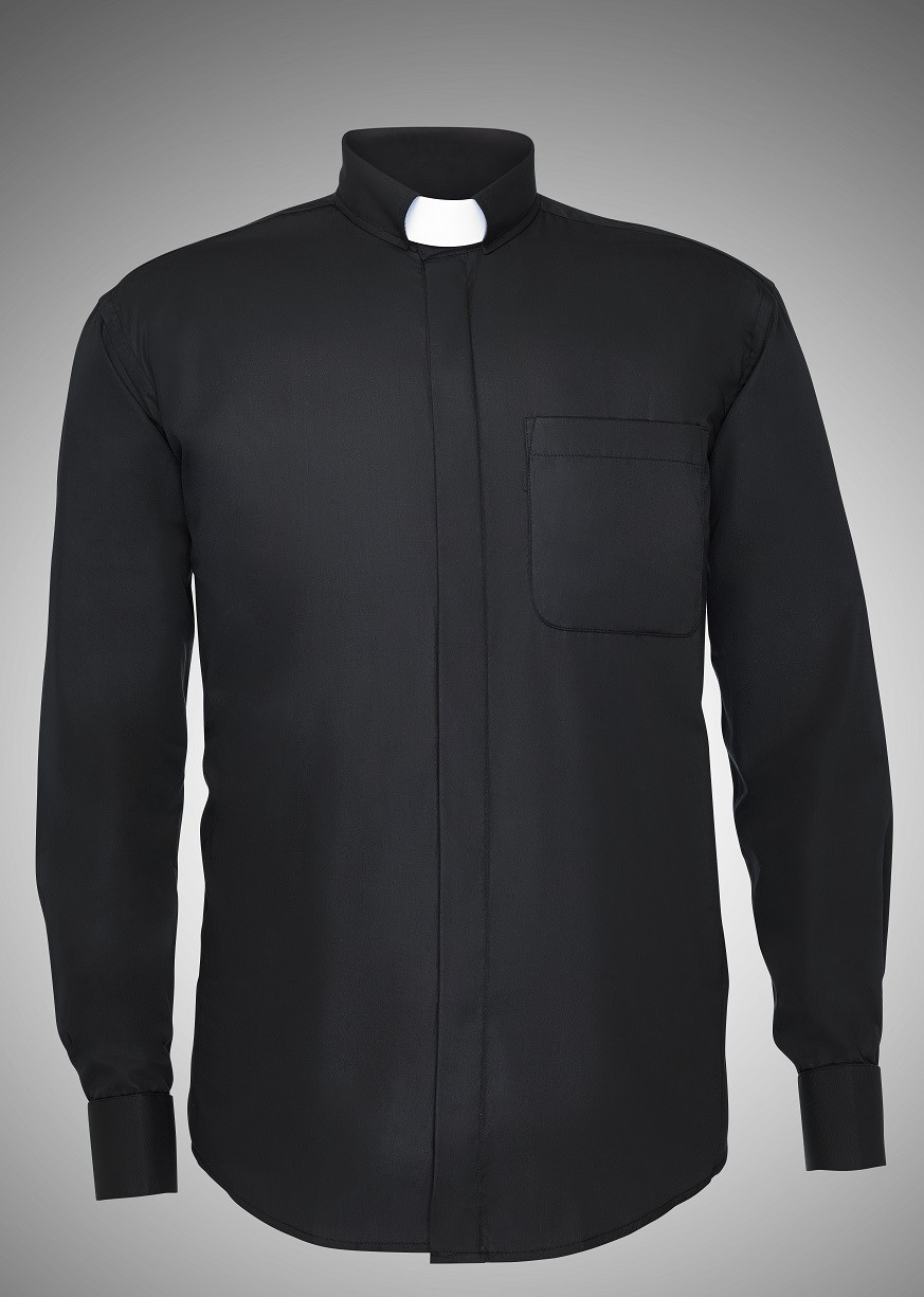 Mens Long Sleeve Tab Collar Clergy Shirts 6 COLORS