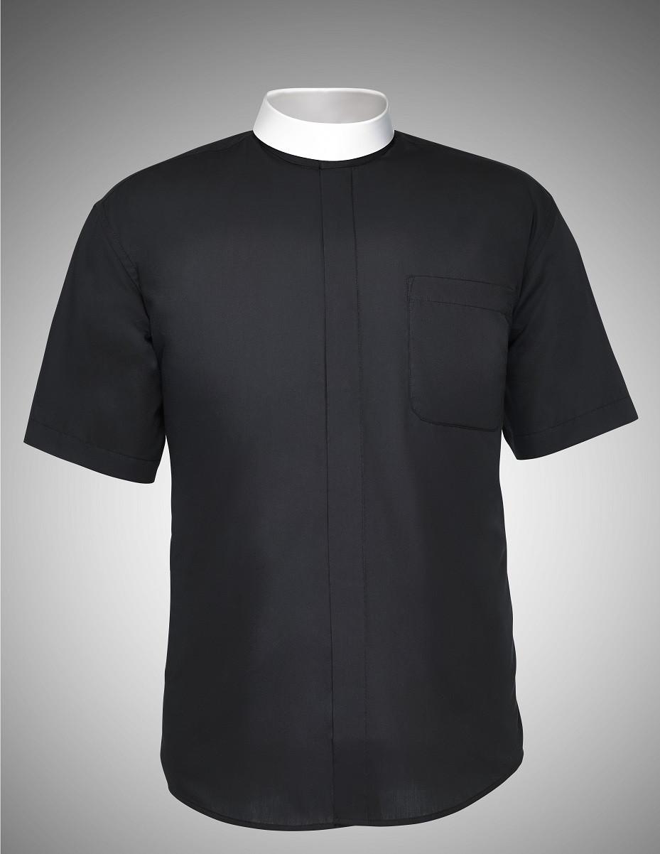 Men S Bishop Collar Clergy Shirts Short Sleeves