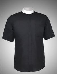 Men's Short-Sleeve Banded Collar Clergy Shirt - 4 COLORS