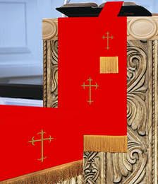 Traditional Reversible 3 Pc. Church Parament Set - Red/White Crosses