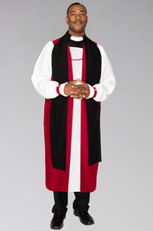 Clergy Rochet with red pleated cuffs