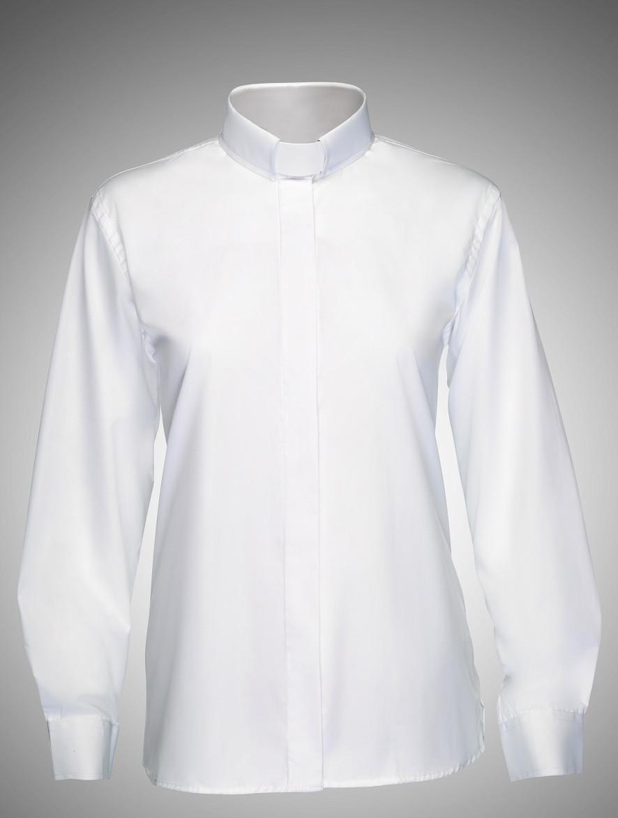 Womens Clergy Tab Shirt White