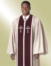 Murphy Men's Robe Bishop H-7 - Beige/Maroon Velvet