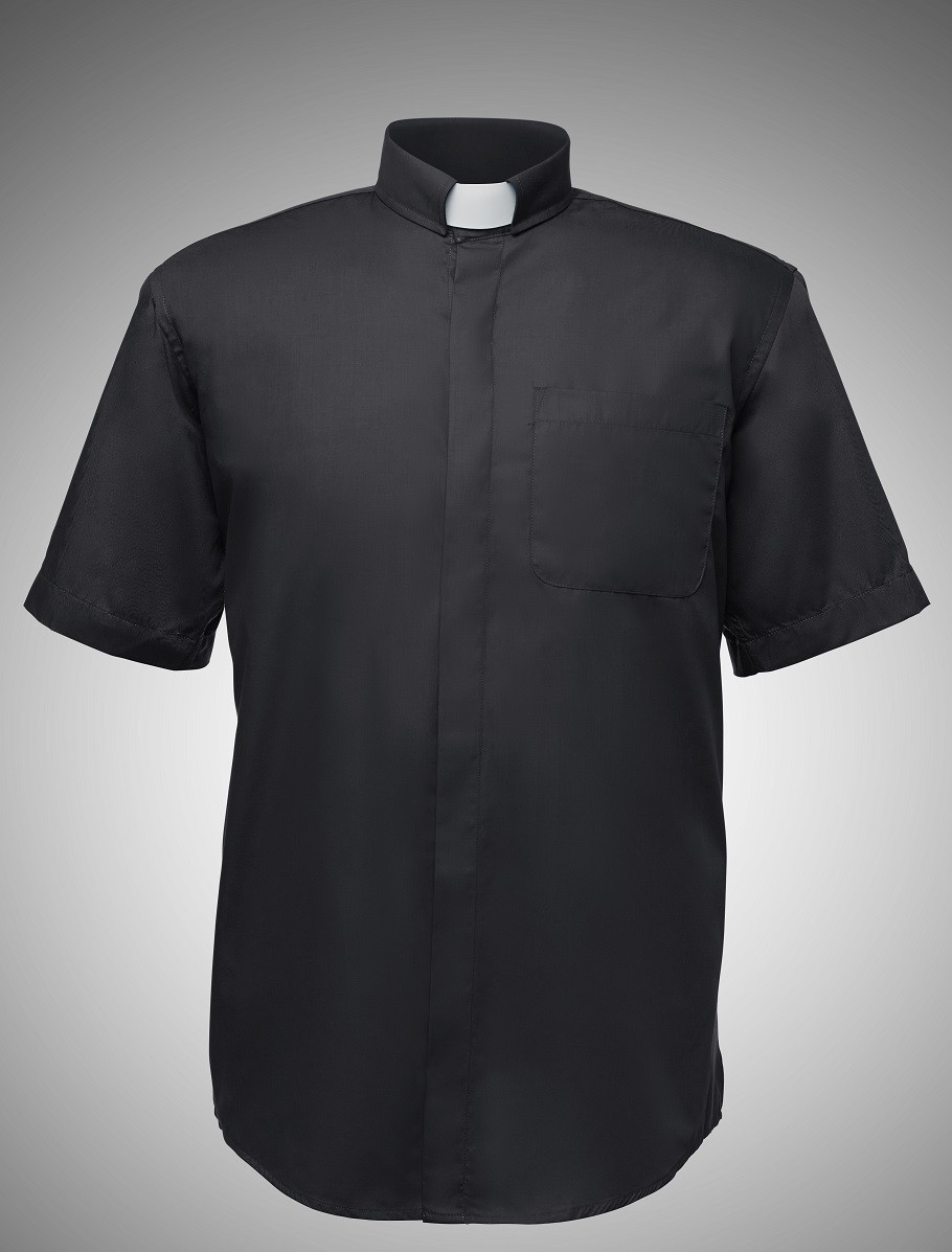 54dfc00ed64 Men s Short-Sleeve Clergy Shirt in 7 Colors - Black