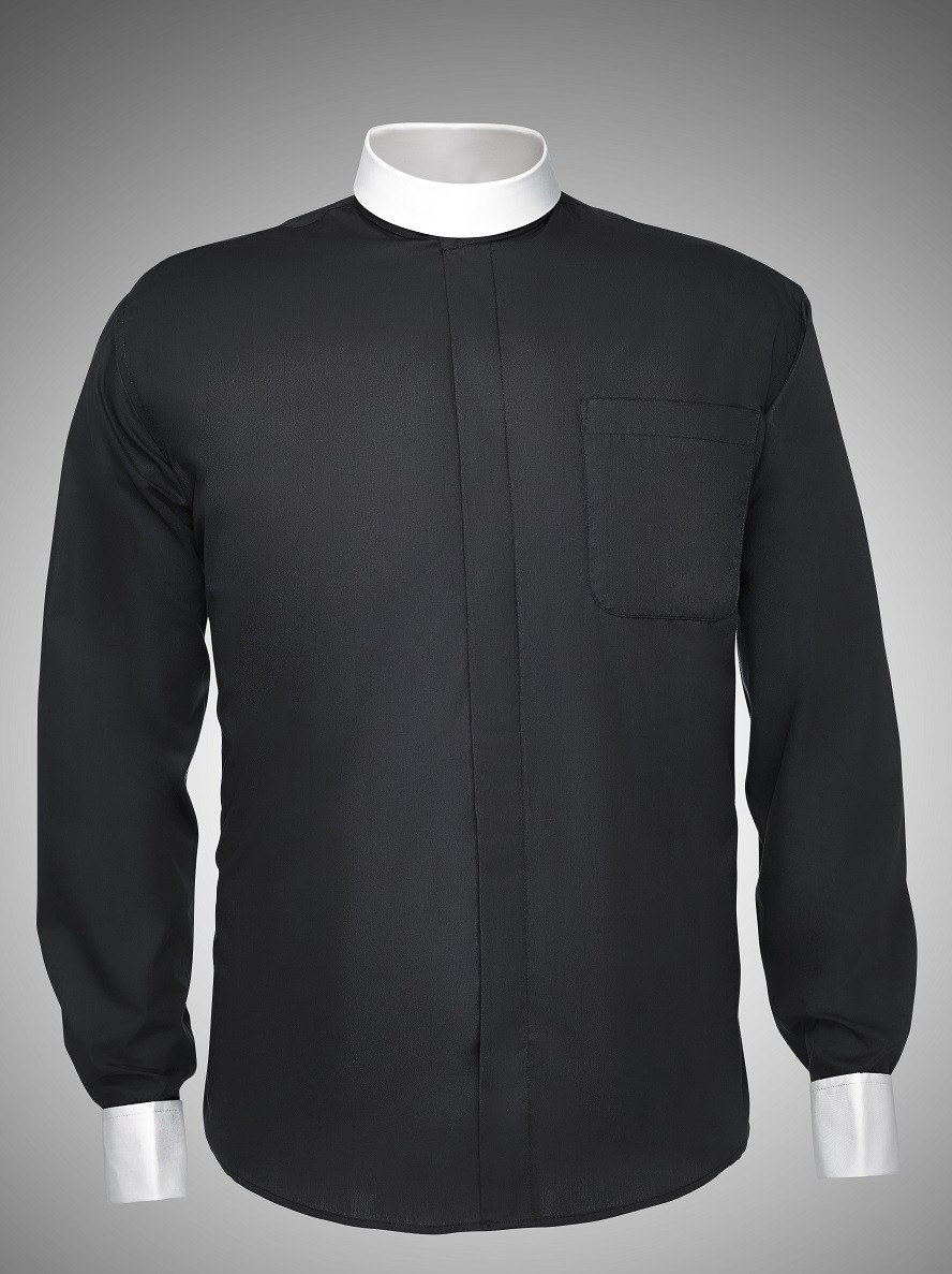 Mens Long Sleeve Banded Collar Designer Clergy Shirt In 4 Colors