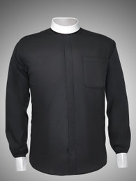 Men's Long-Sleeve Designer Banded Collar Clergy Shirt with White Cuffs - 5 COLORS