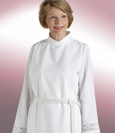 Women's Traditional Clergy Alb with Lace H-181 - White