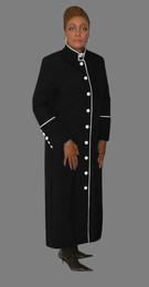 Women's Clergy Robe Black with White Border