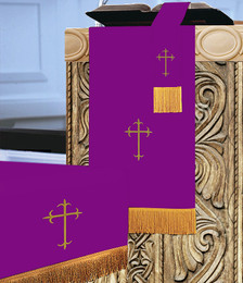 Reversible 3 Pc. Church Parament Set - Purple/Hunter Green Crosses