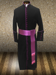 Roman Clergy Cassock in Black & Purple