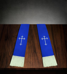 Clergy Stole Royal Blue Satin with White Cross