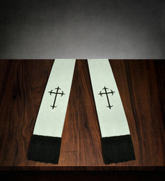 Clergy Stole White Satin with Burgundy Cross