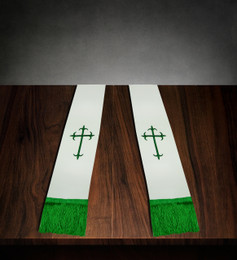 Clergy Stole White Satin with Emerald Cross